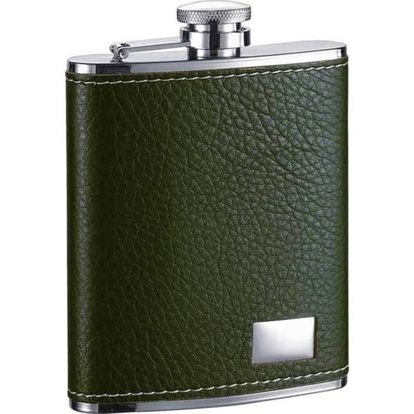 Visol Nature Dark Green Leather Liquor Flask - 6 ounces