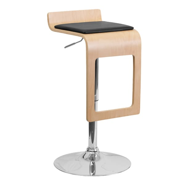 Offex Beech Bentwood Adjustable Height Bar Stool with Black Vinyl Seat and Drop Frame