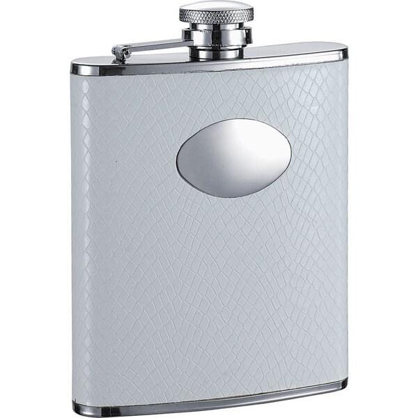 Visol Coverdale White Snakeskin Pattern Liquor Flask - 6 ounces