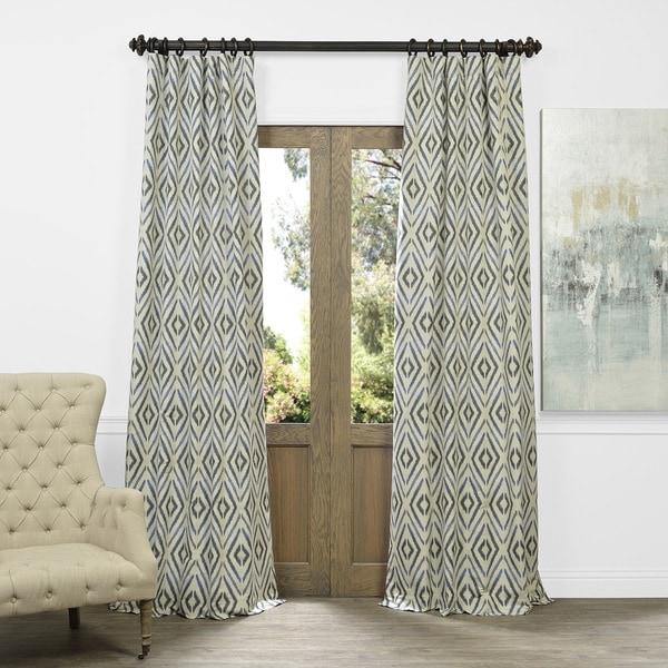 Faux Silk Stripe Rod Pocket 84 Inch Curtain Panel Pair ...