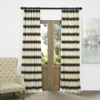 Exclusive Fabrics Bold Horizontal Stripe Jacquard Curtain Panel