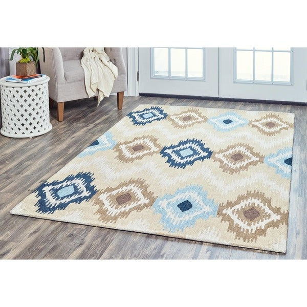 Arden Loft Hand-tufted Beige Central Medallion River Hill Collection Wool Area Rug (10' x 14')