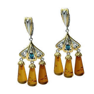 Michael Valitutti Amber and London Blue Topaz Palladium Silver Dangle Earrings
