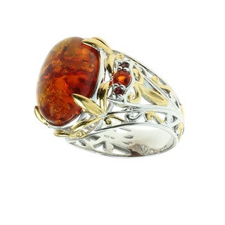 Michael Valitutti Palladium Silver Baltic Amber, Fire Opal and Orange Sapphire Ring