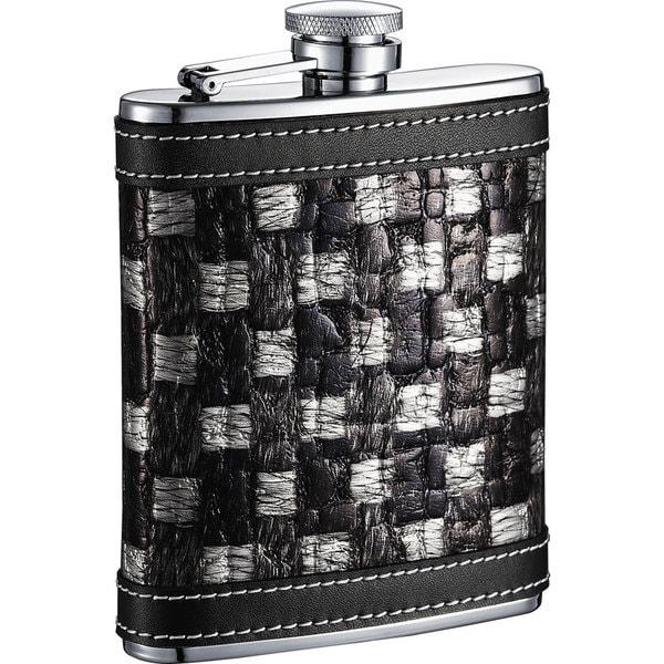 Visol Thread Black & Silver Checkered Pattern Liquor Flask - 6 ounces 16291095