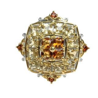 Michael Valitutti Palladium Silver Brazilian Canary Citrine and Madeira Citrine Cluster Ring