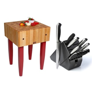 John Boos PCA2-C Barn Red Butcher 24 x 24 Block Table with Casters and J. A. Henckels 13-piece Knife Block Set