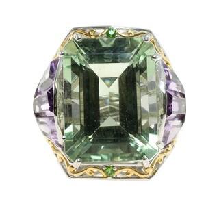 Michael Valitutti Palladium Silver Green Amethyst, Brazilian Amethyst and Chrome Diopside Ring