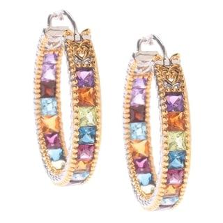 Michael Valitutti Multi-Gemstone Palladium Silver Hoop Earrings