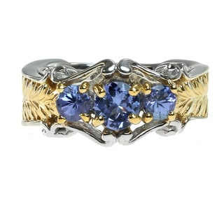 Michael Valitutti Palladium Silver Three stone Tanzanite Ring