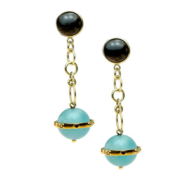 One-of-a-kind Michael Valitutti Aquamarine, Smokey Quartz and Blue Sapphire Palladium Silver Earrings 16291224