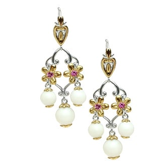 One-of-a-kind Michael Valitutti White Coral and Pink Tourmaline Palladium Silver Flower Dangle Earrings