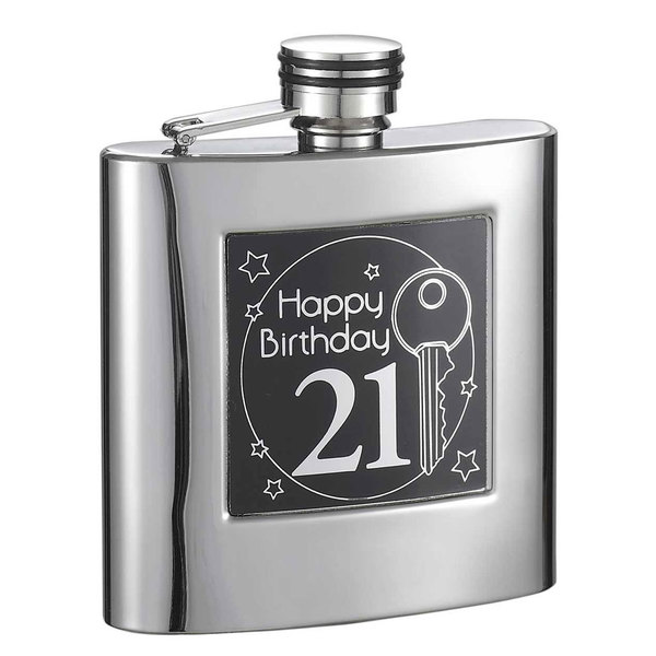 Visol Twenty First Birthday Stainless Steel Liquor Flask - 6 ounces