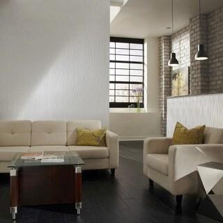 Fasade Waves Vertical Gloss White 4-foot x 8-foot Wall Panel