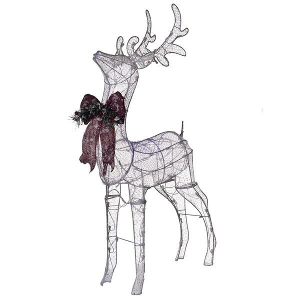 Pre-Lit Glittering Net Fabric Standing Buck