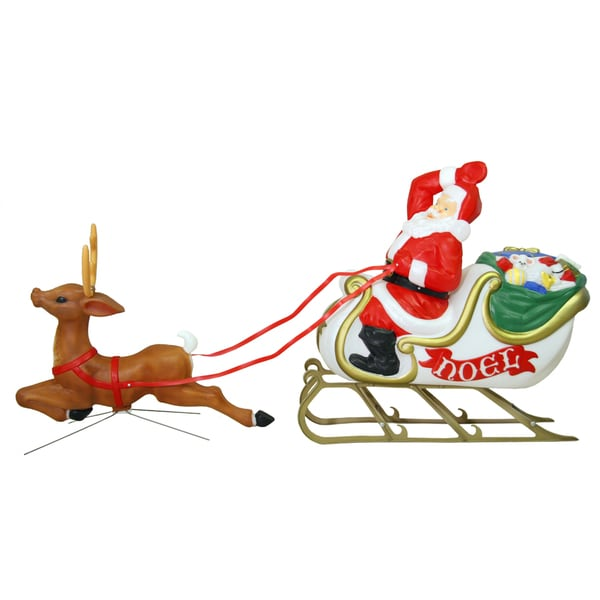 Illuminated Santa, Sleigh and Reindeer Figure Set