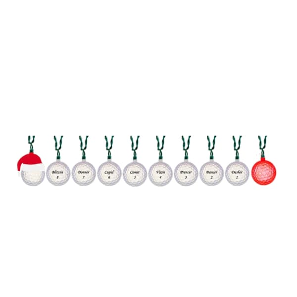 10-Light Santa with Reindeer Golf Balls Light Set