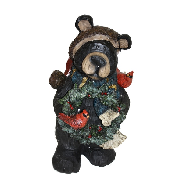 Black Bear Holding Wreath
