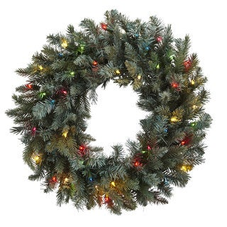 30-inch Pine Wreath w/Colored Lights