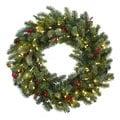30-inch Lighted Pine Wreath w/Berries & Pine Cones