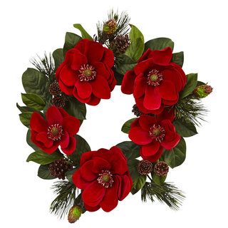 24-inch Red Magnolia & Pine Wreath