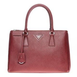 Prada Saffiano Lux Wine Double-Zip Tote Bag