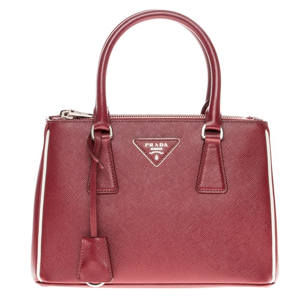 Prada Saffiano Lux Small Double Zip Tote with Contrast Piping