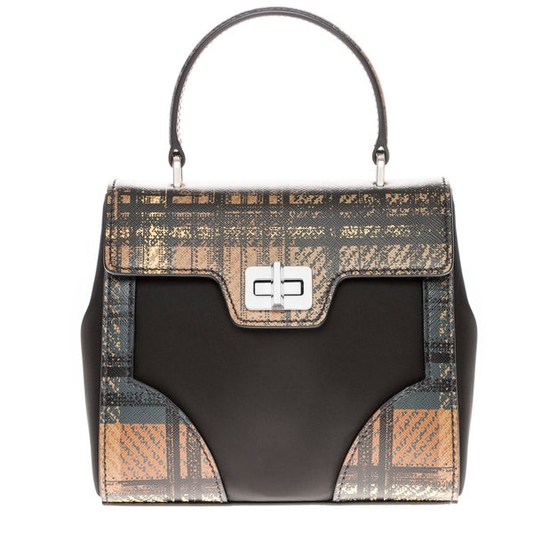 Prada Tartan and Saffiano Black/ Brown Top Handle Satchel