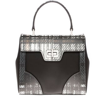 Prada Tartan and Saffiano Black/ White Top Handle Satchel
