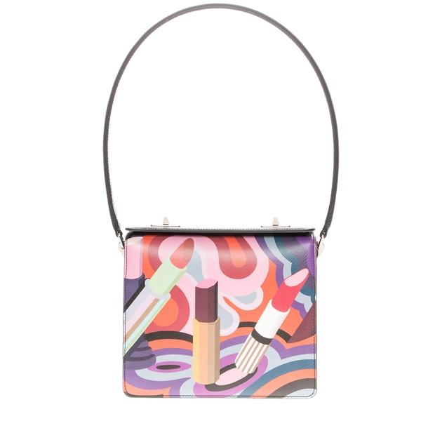 Prada Saffiano Lipstick-Print Shoulder Bag