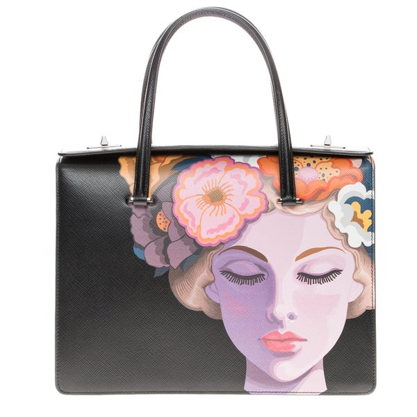 Prada Saffiano Lisa-Print Satchel Bag