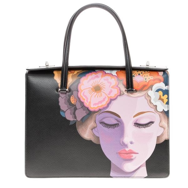 Prada Saffiano Lisa-Print Satchel Bag