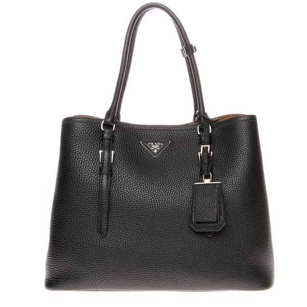 Prada Black/ Brown Grainy Leather Double Tote Bag