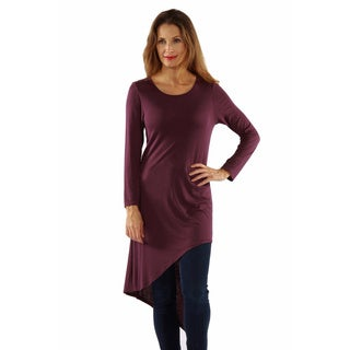 24/7 Comfort Apparel Women's Extra Long Diagonal Sweep Tunic