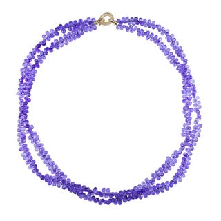14k Yellow Gold Amethyst Briolette 2-row Necklace