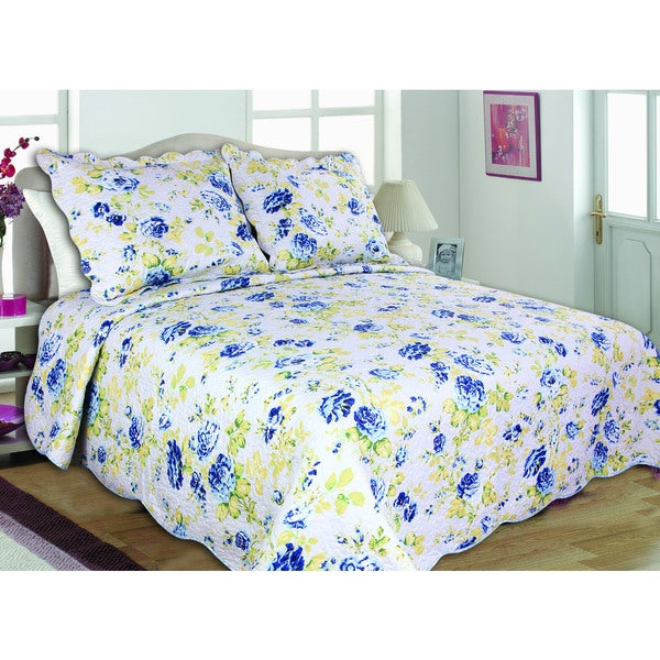 "Quilt Print ""Joanne"" 100-percent Cotton Quilt Set"