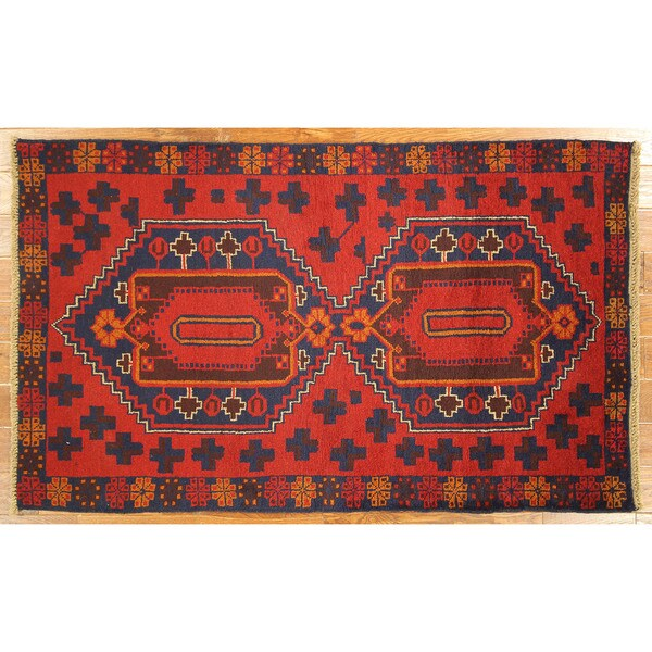 Balouch Made In Village Hand-knotted Wool Blue-Red Geometric Rug (4' x 6')