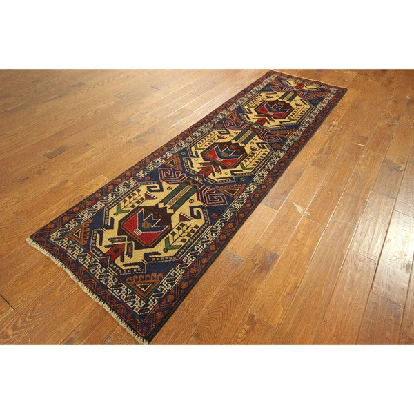 Afgan Balouch Hand-knotted Wool Runner Ivory Medallion Blue Rug (3' x 9')