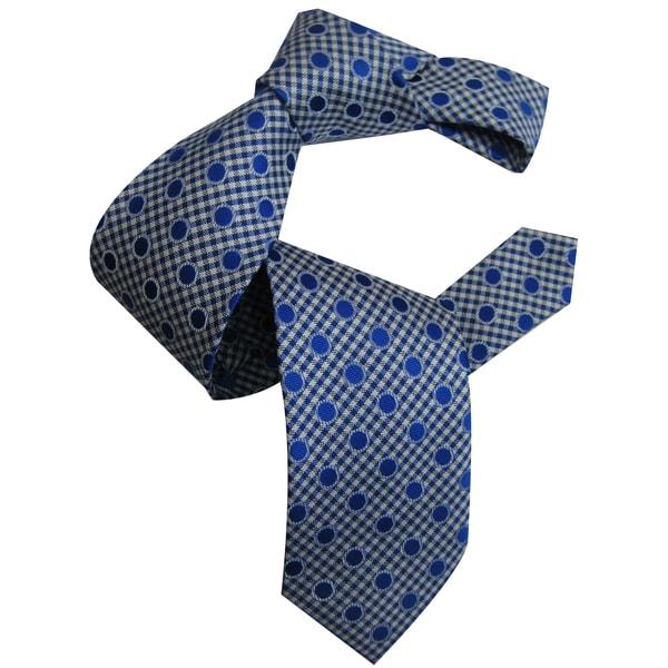 Dmitry Men's Blue Polka Dot Patterned Italian Silk Tie