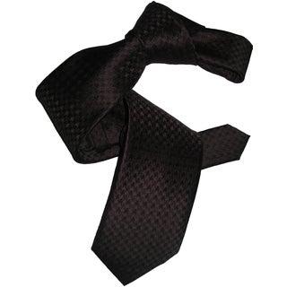 Dmitry Men's Chocolate Brown Houndstooth Italian Silk Tie