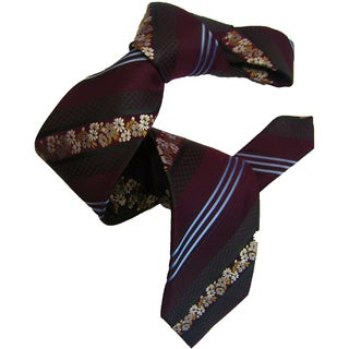 Dmitry Men's Burgundy Patterned Italian Silk Tie