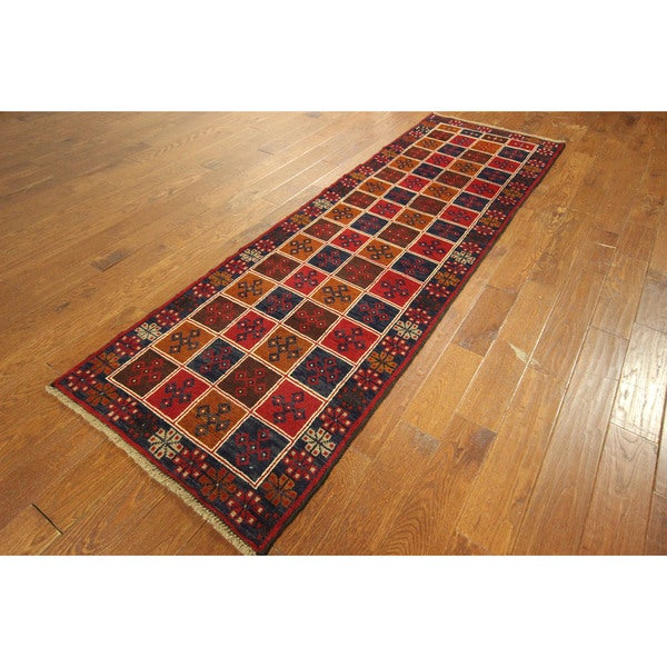Runner Balouch Hand-knotted Wool Multi-color Boxes Design Floral Rug (3' x 10')