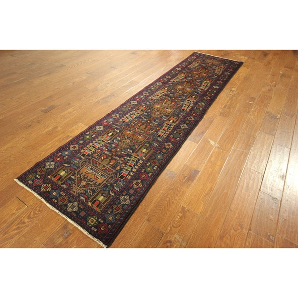 Geometric Baluch Gold Cup Design Runner Blue Hand-knotted Wool Rug (3' x 10')