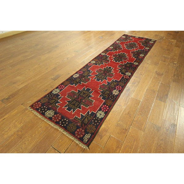 Geo-Floral Red/ Navy Blue Baluch Persian Runner Hand-knotted Wool Rug (3' x 10')