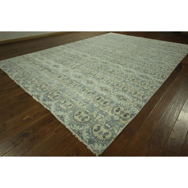 Blue Ikat Design Double-knotted Turkish Hand-knotted Wool Area Rug (10' x 14')