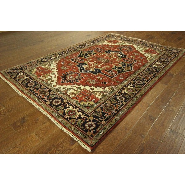 Serapi Collection Oriental Red/ Navy Blue Hand-knotted Wool Area Rug (6' x 9') 16295980