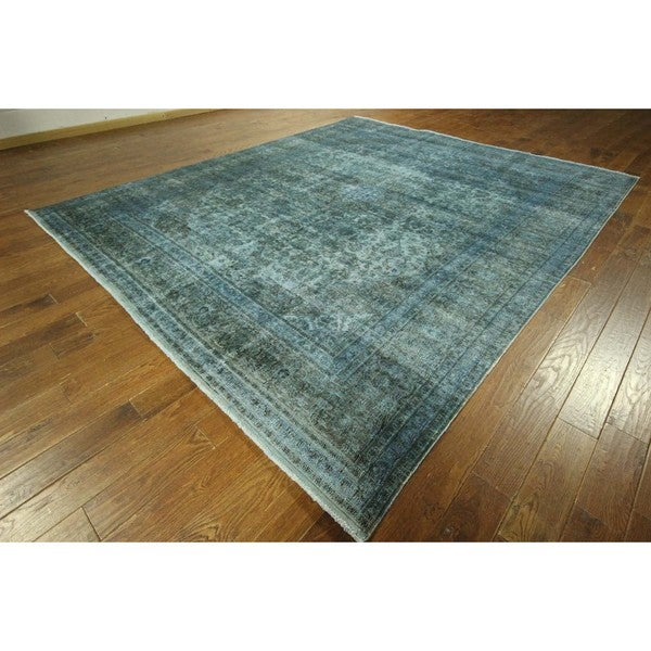 One Of A Kind Antique Blue Overdyed Hand Knotted Wool Area