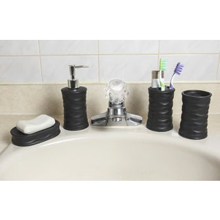 Ceramic 4-Piece Bath Accessory Set - Black