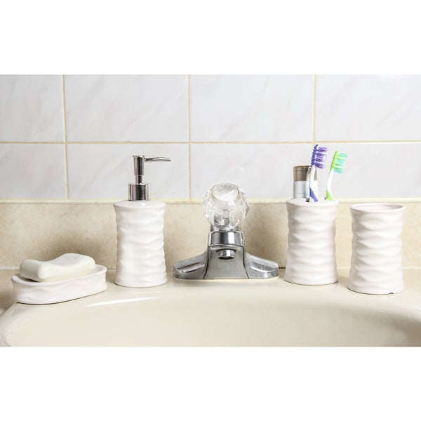 Ceramic 4-Piece Bathroom Accessory Set - Cream