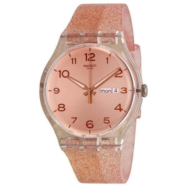 Swatch Unisex SUOK703 'Pink Glistar' White Silicone Watch